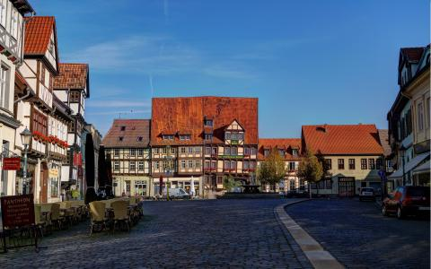 Quedlinburg, Germany, houses, street, road wallpaper