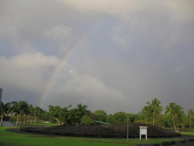 Rainbow Over Hilo Tidal Wave Memorial wallpaper