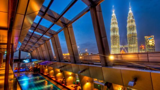 View From A Hotel Pool In Kuala Lumpur Hdr wallpaper